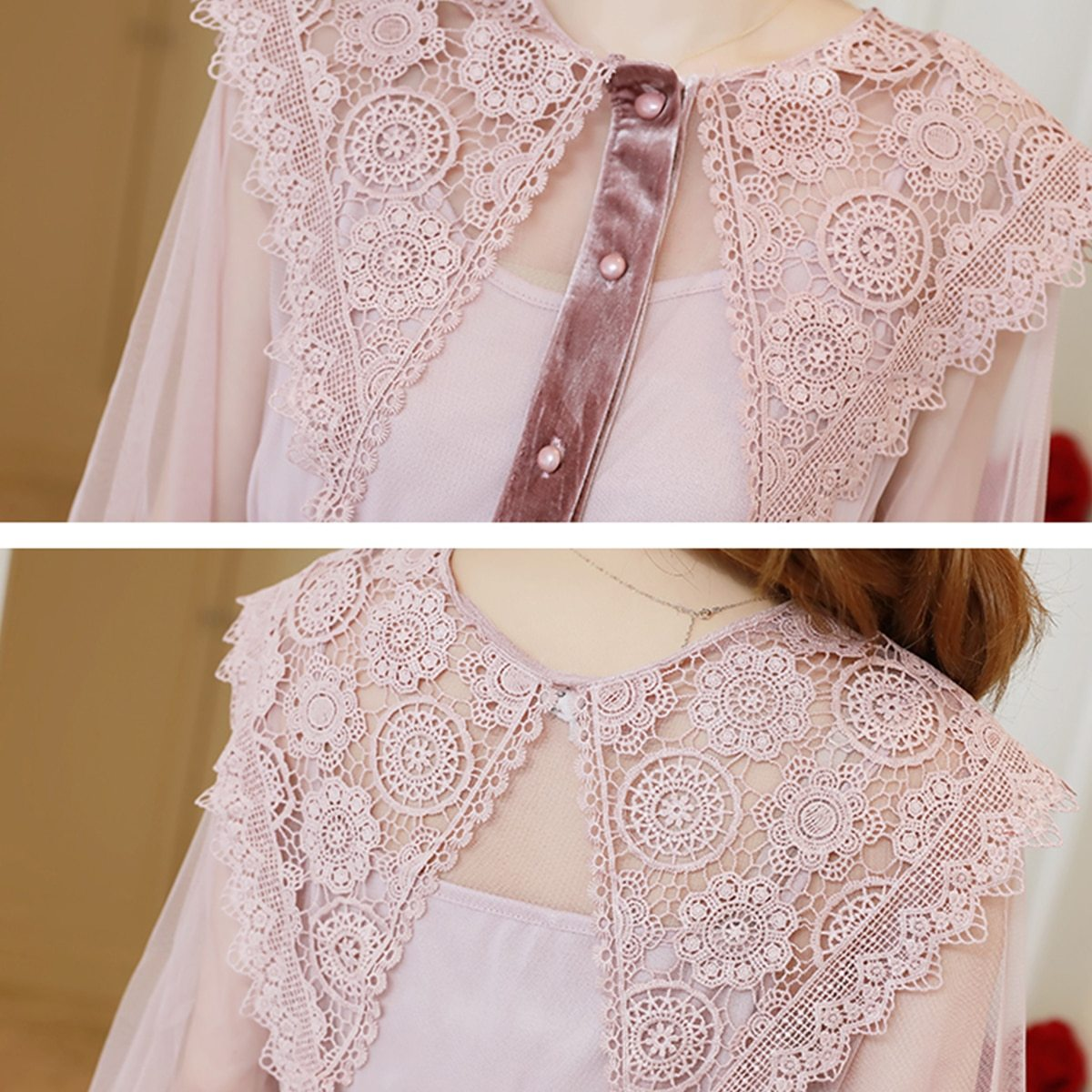 Maternity Dress Solid Color Lace Patchwork Waist Tied Dress image 6