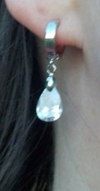 Delicate Pear Shaped Earrings Silver & Clear Womens Fashion Jewelry Snap Back - $15.99