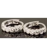 Men and Women Hoop Earrings Zirconia Hip Hop Style 14K White Gold Fn - $49.99