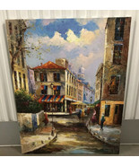 Lot of 4 Large Oil on Canvas Wall Art European Scenes Italy (?) Spain (?) - $391.99