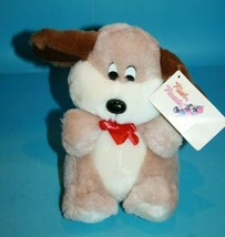 Plush Parade Dog Vtg 1988 Soft Toy Ace Novelty Beige Plushie Bow Brown Ears New - $26.09