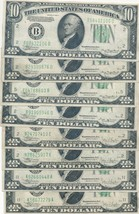 1934 $10 FEDERAL RESERVE NOTES-8 VERY NICE HIGH GRADE NOTES! MIXED-SHIPS... - $164.95