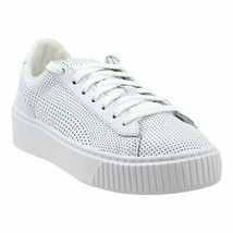 Puma Womens Basket Platform Perf Pl Leather Low Top Lace Up, White, Size 10.0 - $70.17
