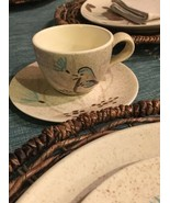 RED WING POTTERY BOB WHITE Blue Quail Bird Tea Cup & Saucer EXCELLENT (3... - $11.67