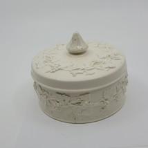 Wedgwood Barlaston Of Etruria Embossed Queens Ware Vanity Trinket Box  - $30.00
