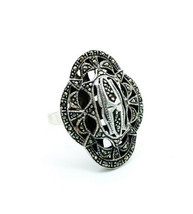 Antique Art Deco Sterling Silver Pave Marcasite Statement Ring Size 7.75 - €75,48 EUR