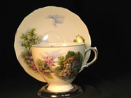 Royal Vale Teacup and Saucer Fine Bone China Vintage Gilt Trim Thatched ... - $21.04