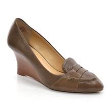 JOAN DAVID CIRCA Manni Wedge PUMPS Womens 7 M Brown Leather High Heel Shoes - $32.71