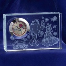 Beauty and the Beast Premium Crystal Desk Clock Glass Figure Ornament  - $66.33
