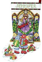 Design Works Stained Glass Window Angel Christmas Cross Stitch Stocking ... - $29.95