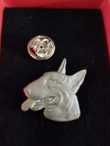 dog with tongue out english Pewter Lapel Pin Badge, gift boxed