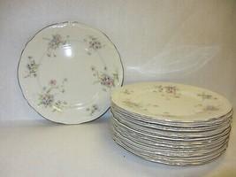 """Set 12 Dinner Plates Theodore Haviland Vtg """"Annette"""" Pink Blue Flowers Gold Rim - $148.49"""