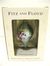 Fitz and Floyd Crystal Winter Teal Teardrop Glass Ornament - $19.00