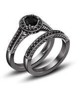 Halo 1.27Ct Round Diamond 14K Black Gold FN Frame Bridal Ring Wedding Ba... - $108.99