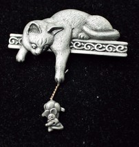 CAT with Dangling MOUSE Pewter-tone Brooch Pin -signed JJ -Vintage -2 1/... - $20.00