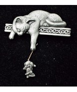 CAT with Dangling MOUSE Pewter-tone Brooch Pin -signed JJ -Vintage -2 1/... - £14.36 GBP