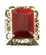 Antique Sterling Hand Cut Open Work Filigree 8.89ct Huge Natural Ruby Ring 6-6.5 - $314.99