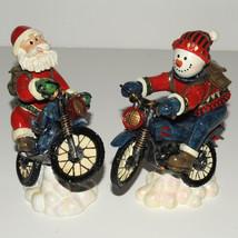 Snowman Santa Riding Motorcycles Bobble Figurines Lot of 2 Winter Christ... - $19.98
