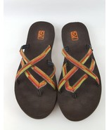 Teva Mush Oluwah flip flop sandals black red orange green womens 10 - $18.69