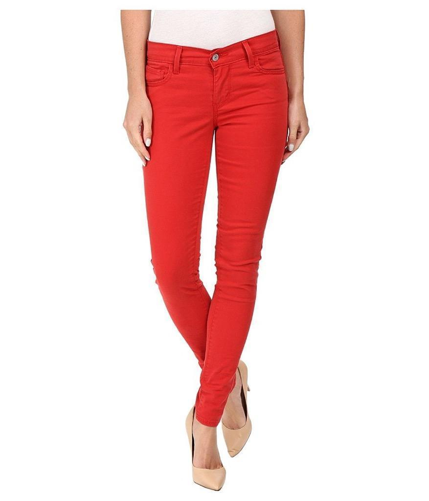 NEW LEVI'S 710 WOMEN'S PREMIUM SUPER SKINNY JEANS LEGGINGS BRUSHED CHERRY BOMB