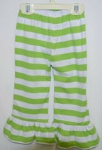 lanks Boutique Girls Lime White Stripe Ruffle Pants Size 18 Months image 2