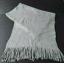 "Womens Mens Unisex Neck Scarf 63"" Oblong Rectangle Fringed Grey Gray 70"" - $23.26"