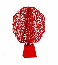 2 Pieces Of Fashion 3D Paper Sculptures Red Flower Shaped Greeting Card