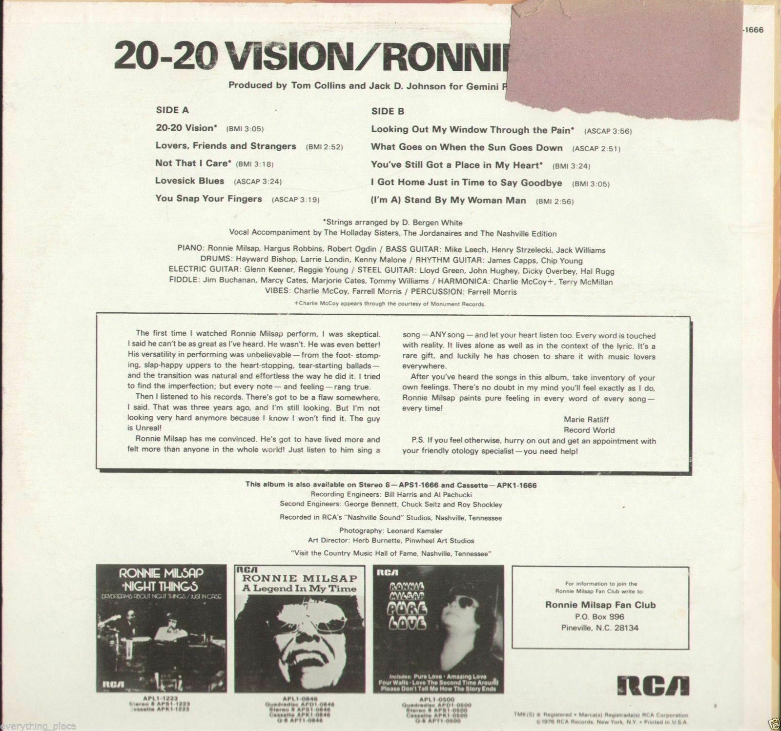 Ronnie Milsap 20-20 Vision Vinyl Record Album