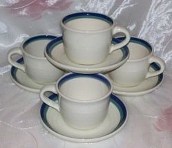 Pfaltzgraff NORTHWINDS- Cup and Saucer Sets (4)- White Green Blue Bands- EUC - $9.95