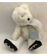 Hallmark Teddy Bear Ice Skating Winter White Jointed w Tag Scarf Laced Skates - $14.85