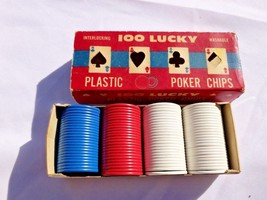 Vintage LUCKY POKER CHIPS Plastic Interlocking Washable USA Red Blue Whi... - $14.95