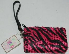 3C4G Three Cheers For Girls Fuchsia Sequin Black Zebra Striped Tote and Wristlet image 4