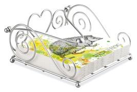 Hedgehog Sketch Paint 20 X Paper Napkins & Silver Swirl Heart Napkin Holder Set - $27.23