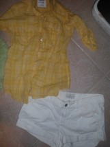 Abercrombie Fitch Sz 6 White Shorts + American Eagle yellow plaid button... - $5.99