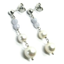 18K WHITE GOLD PENDANT EARRINGS, WITH FW PEARLS AND CHALCEDONY image 1