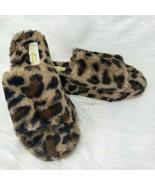 Mata Leopard Print Soft Faux Fur Womens Slip On Open Toe Slide Slipper S... - $22.44