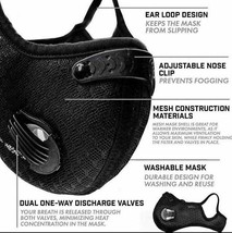 Reusable Black Face Mask with Filters for Adults image 2