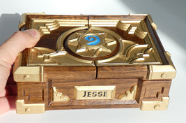 Custom Carved Hearthstone Box Replica Oak Wood - $535.00