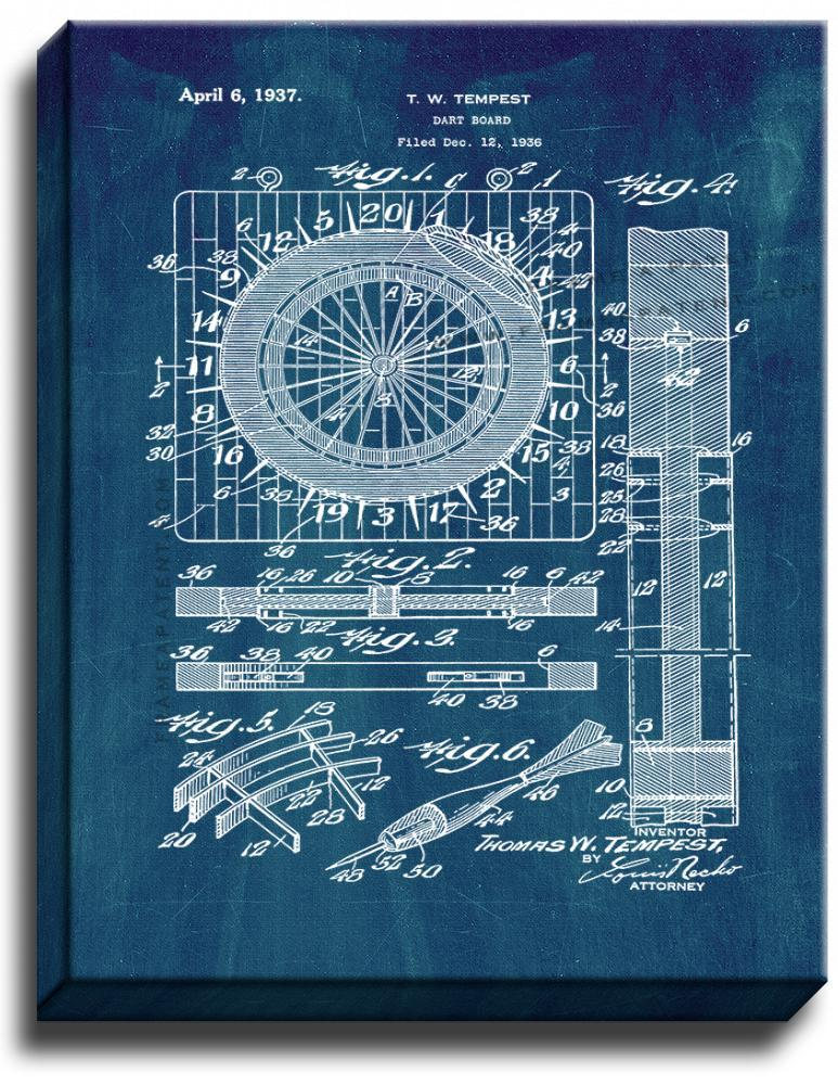 Primary image for Dart Board Patent Print Midnight Blue on Canvas