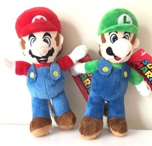 "Nintendo Set of 2 Super Mario+Luigi Soft Plush Doll 8"" NWT.Licensed. USA - $16.75"
