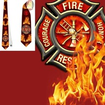 necktie fire fireman fire fighter  tietie - $22.00