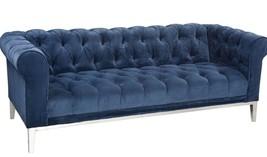 Restoration Hardware Modern Italian Chesterfield Navy Velvet Tufted Sofa... - $2,989.00