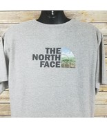 North Face Mens Large Tee Shirt Athletic Gray Back and Front Graphic Logo - $22.00