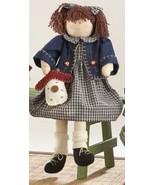 Primitive Doll  41382-Sitting Girl Blue Plaid Dress - $17.95