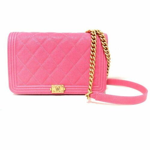 54cbb67be038ed Auth CHANEL Boy Shoulder Bag Pink Matelasse Crossbody Logo Chain Gold B4733  - $3,737.25