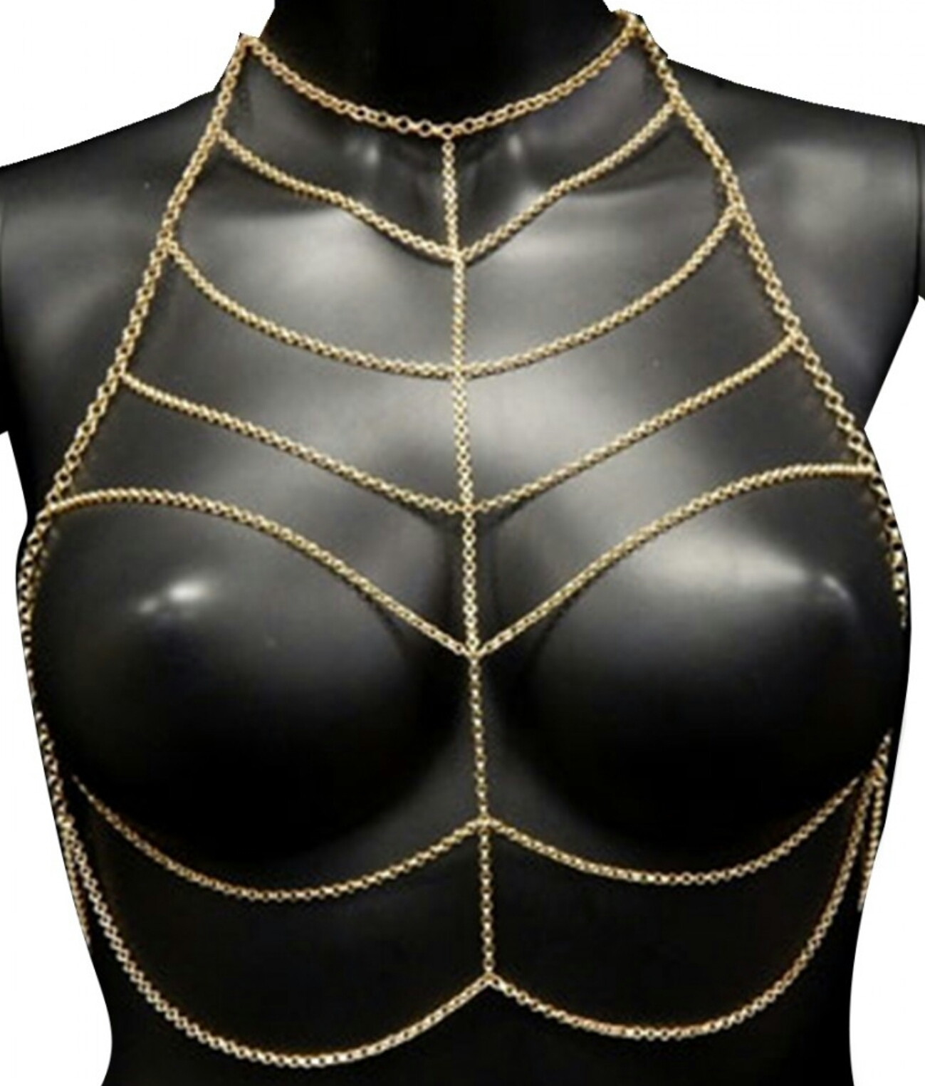 Gold Tone Choker Body Chains Bra Size X-Small/Small