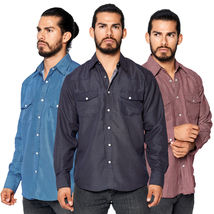 LW Men's Pearl Snap Western Rodeo Vaquero Intricate Geo Print Woven Dress Shirt