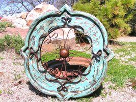 Round House Pediment Architectural Iron-Wood-Hand Painted BLUE Medallion bz - $124.98