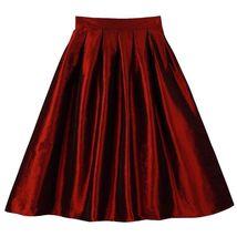 Blue Green A-Line Knee Length Ruffle Skirt Taffeta High Waist Pleated Skirt NWT image 4