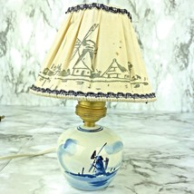 Vtg Windmill Lamp Light Blue White Holland Shade Electric Ceramic As IS ... - $14.84